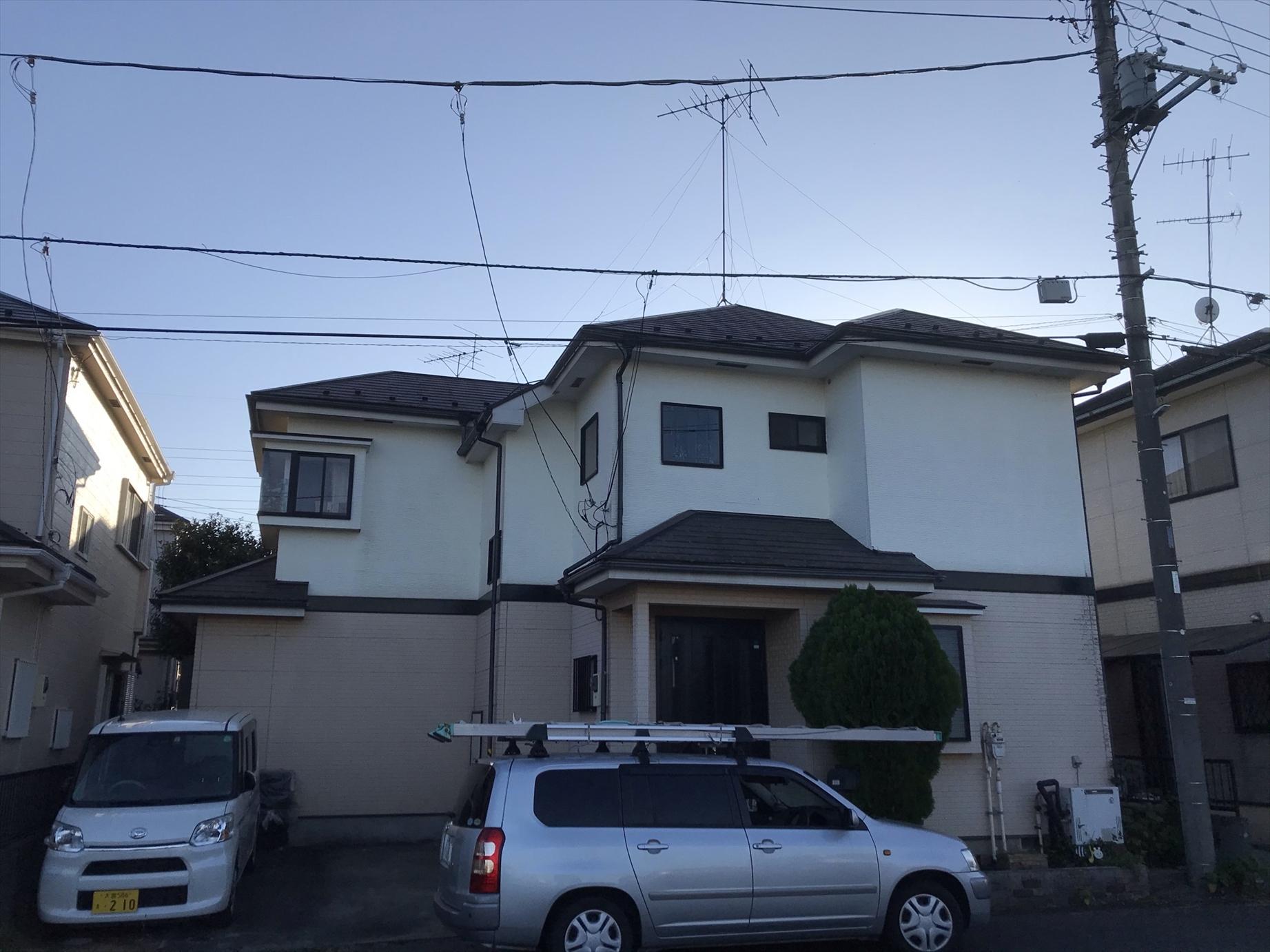 伊奈町賃貸一軒家屋根塗装・外壁補修塗装工事前全景