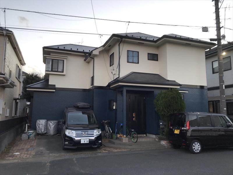 伊奈町賃貸一軒家屋根塗装・外壁補修塗装工事後全景