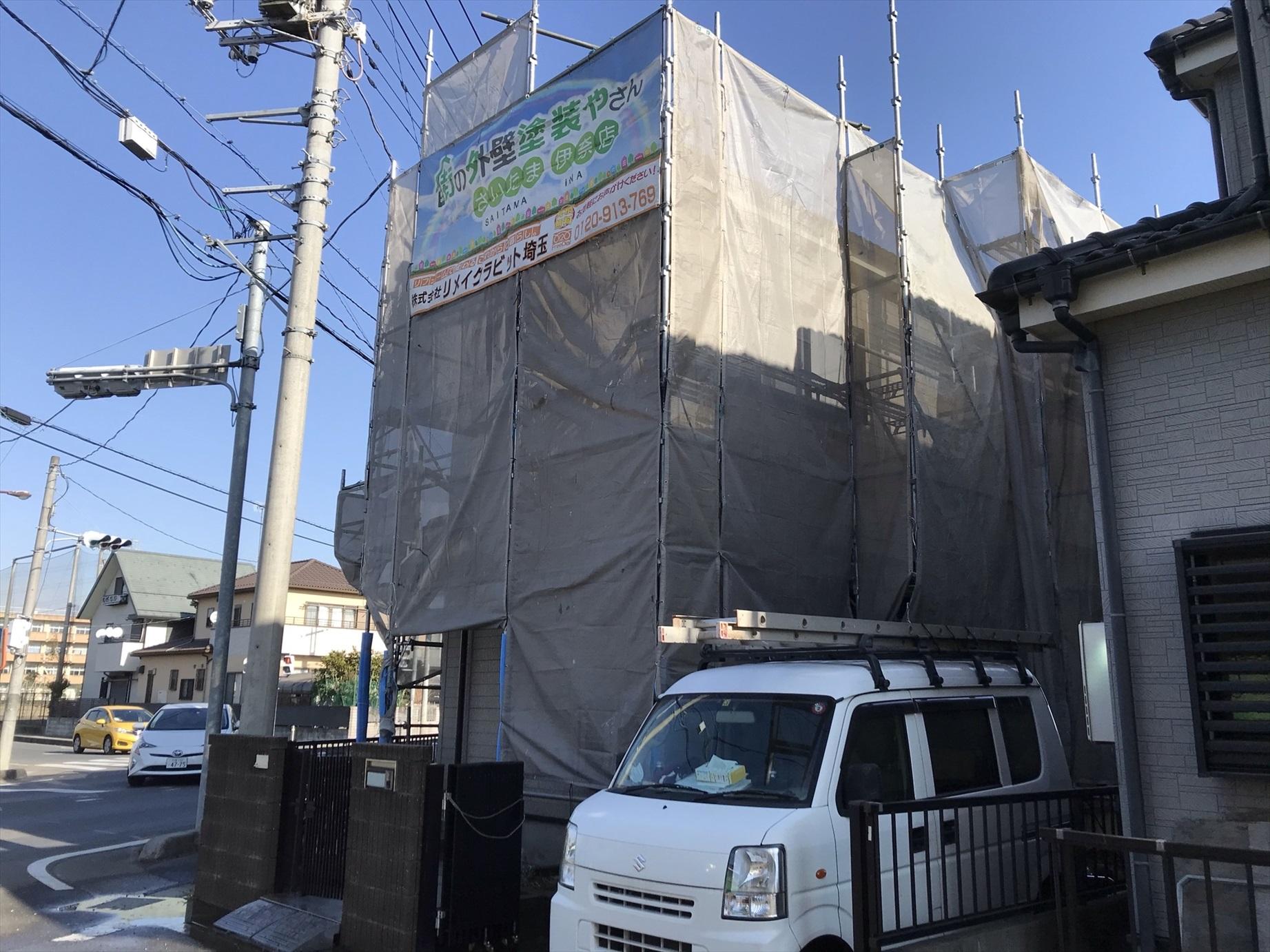 上尾市本町外壁塗装の為仮設足場設置