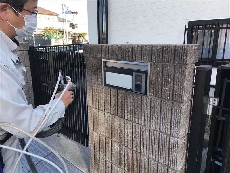 上尾市門塀廻りに光触媒コーティング剤「NFE2」を塗布