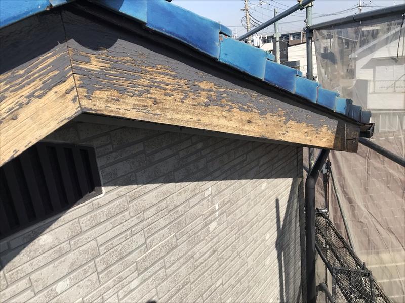 伊奈町外壁塗装前破風板劣化状態
