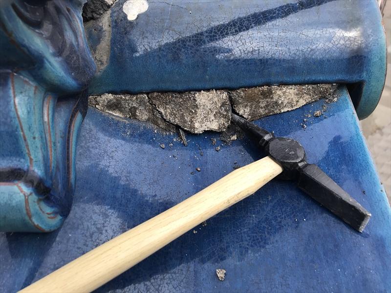 伊奈町瓦屋根漆喰補修開始
