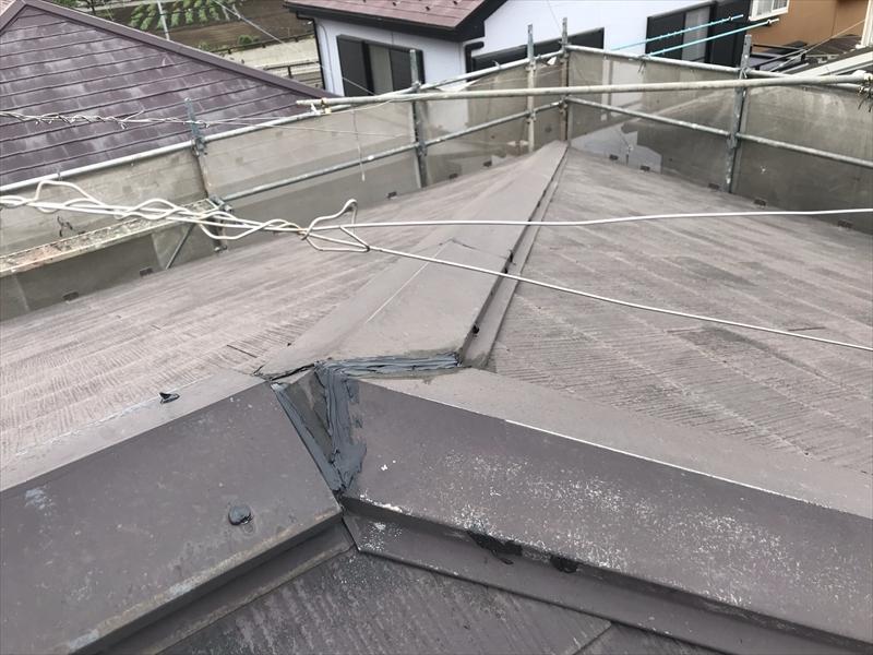 上尾市屋根塗装前の棟板金補修