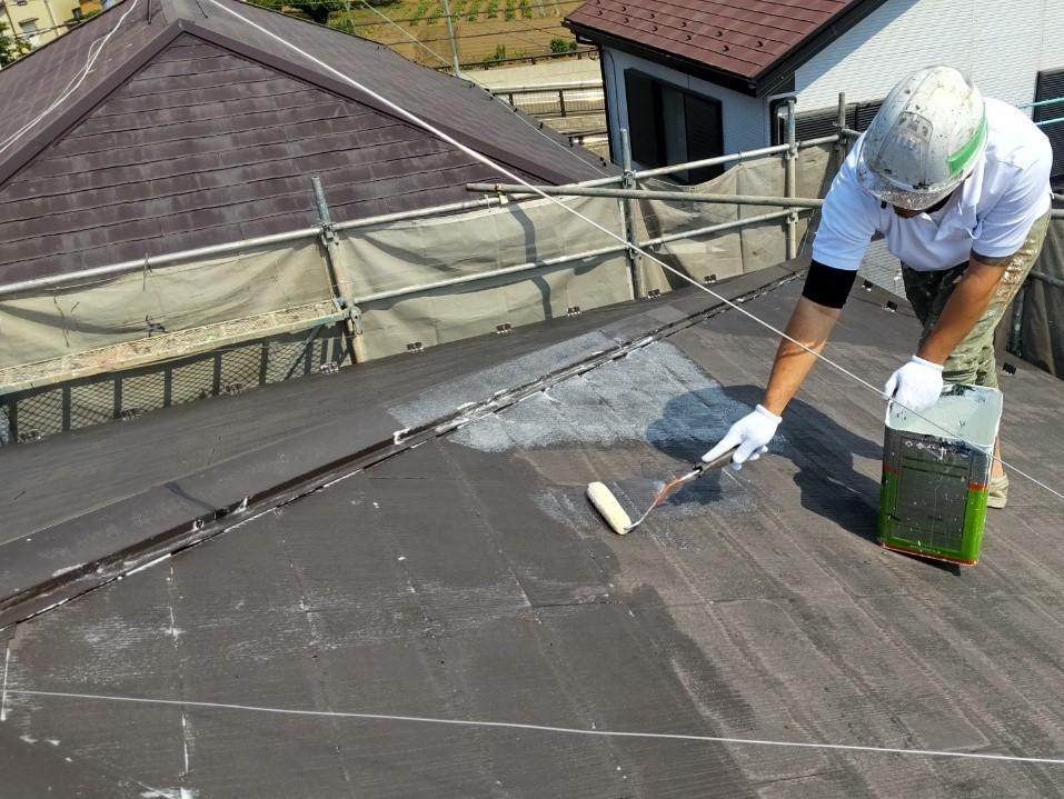 上尾市で屋根・外壁塗装2回目の塗り替え工事です。屋根塗装には、遮断熱塗料「キルコ」を使用しました