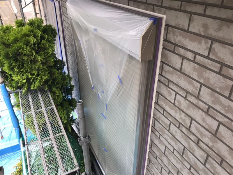外壁塗装の為養生