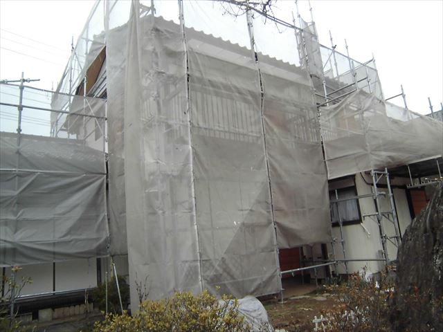 外壁用塗装足場の設置