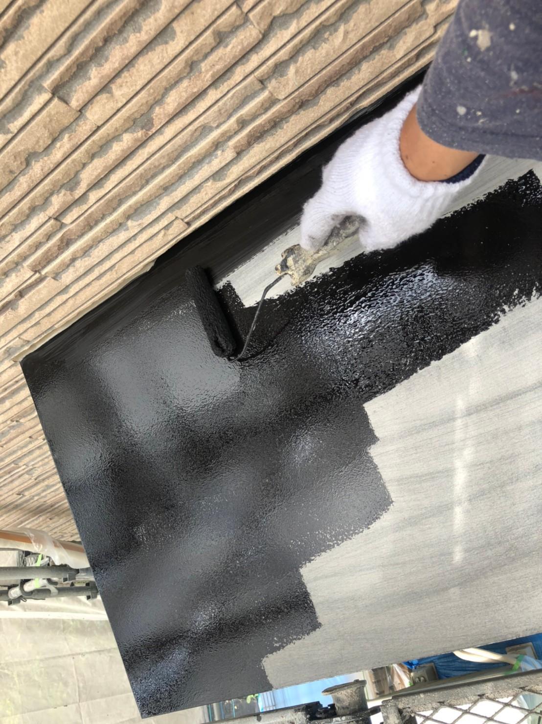 伊奈町外壁塗装付帯鉄部錆止め下塗り作業