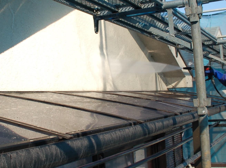 北本市モルタル外壁高圧洗浄