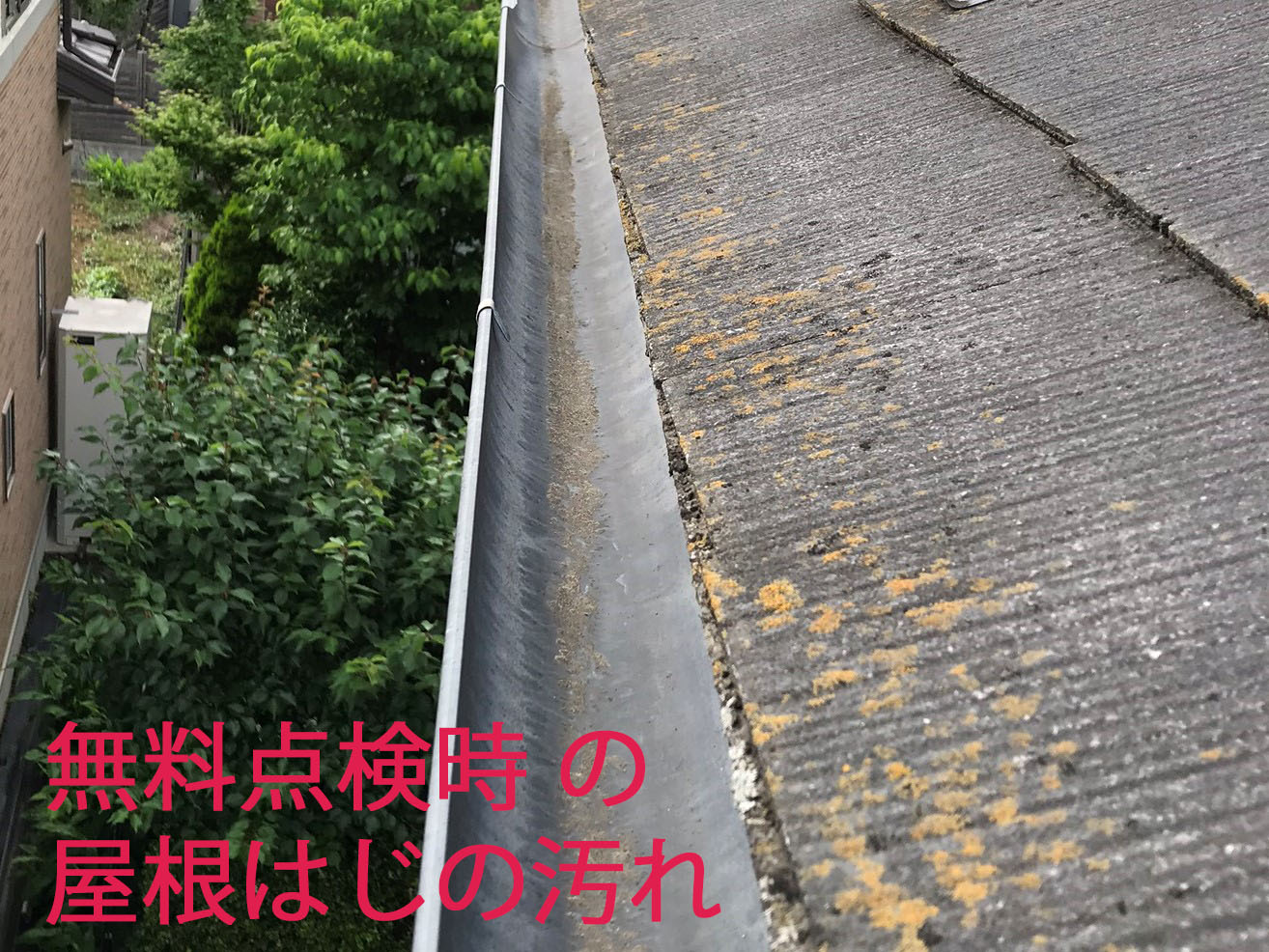 上尾市スレート屋根無料点検時の屋根端雨樋付近の汚れカビ苔