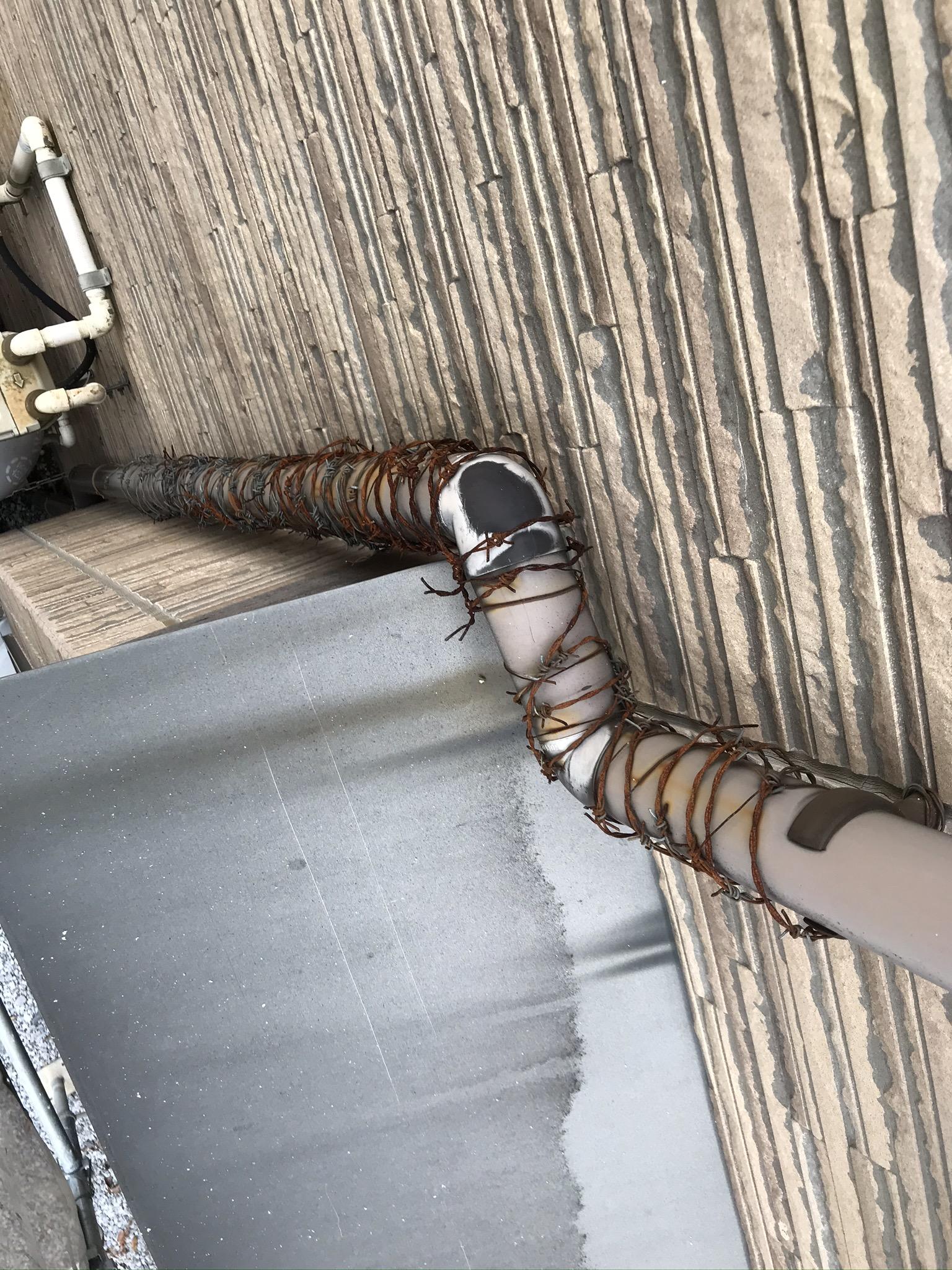 伊奈町の外壁塗装前準備の為雨樋の有刺鉄線除去