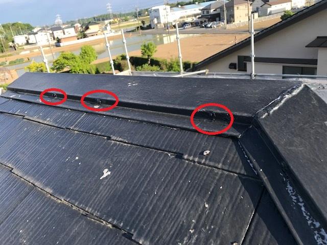屋根棟板金釘補修後シリコンで補強
