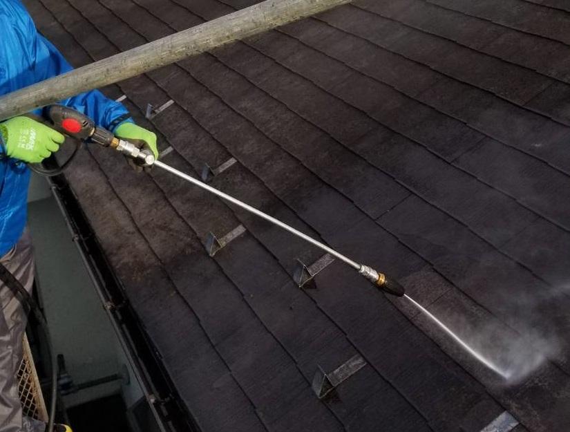 北本市スレート屋根高圧洗浄