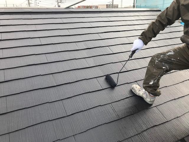 北本市スレート瓦屋根を上塗り