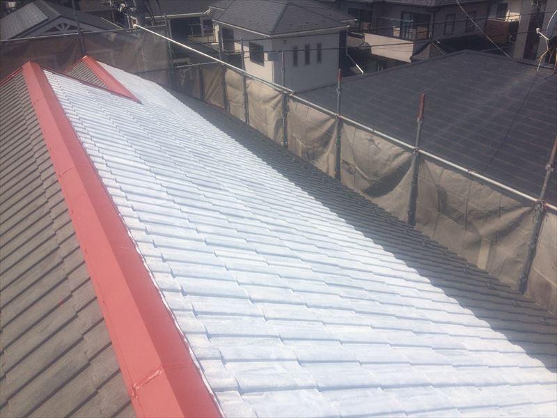 屋根棟トタン錆止め