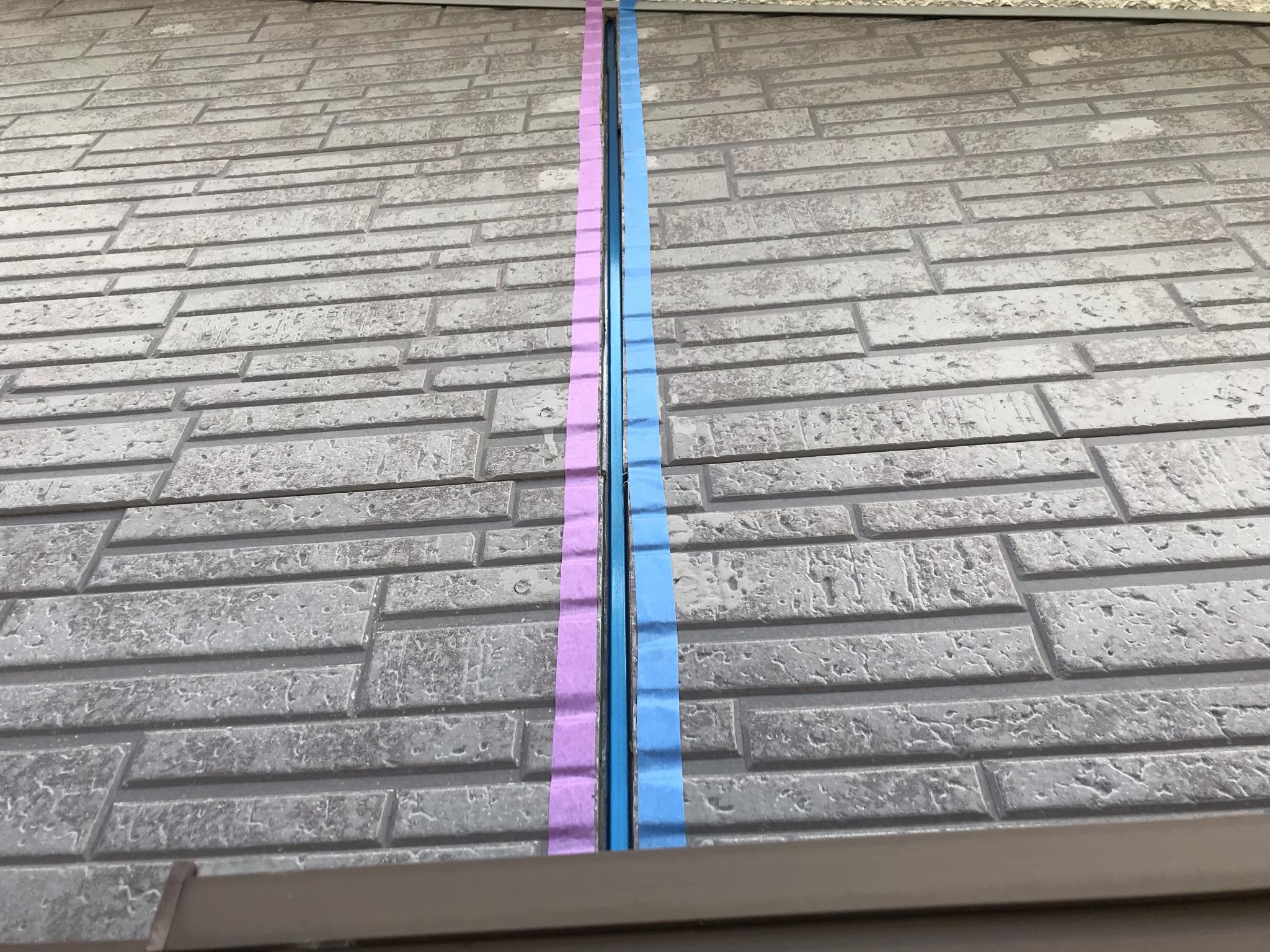 伊奈町外壁サイディング目地シーリング打替えの既存材撤去と養生