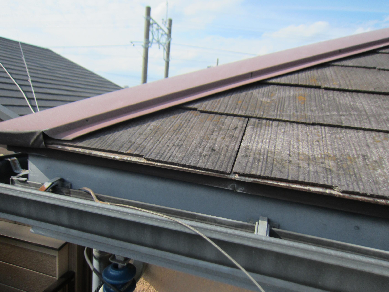 スレート屋根棟包み釘抜け