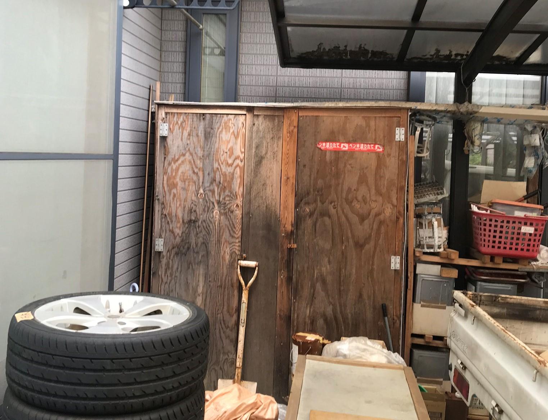 桶川市外壁塗装前に周りの荷物整理