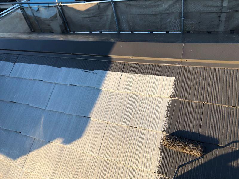 さいたま市岩槻区で「スーパシャネツサーモSi」を大屋根に中塗り塗布