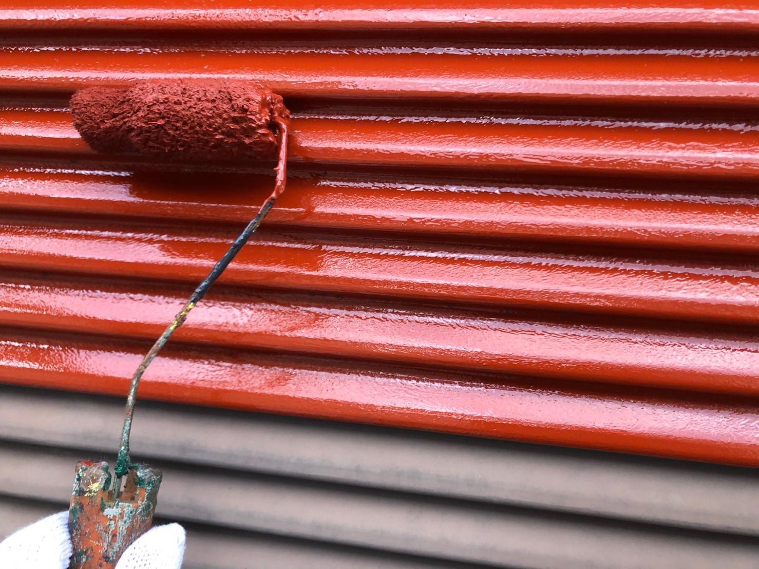 さいたま市岩槻区戸袋下塗りは防さび塗料ハイポンファインデクロを使用